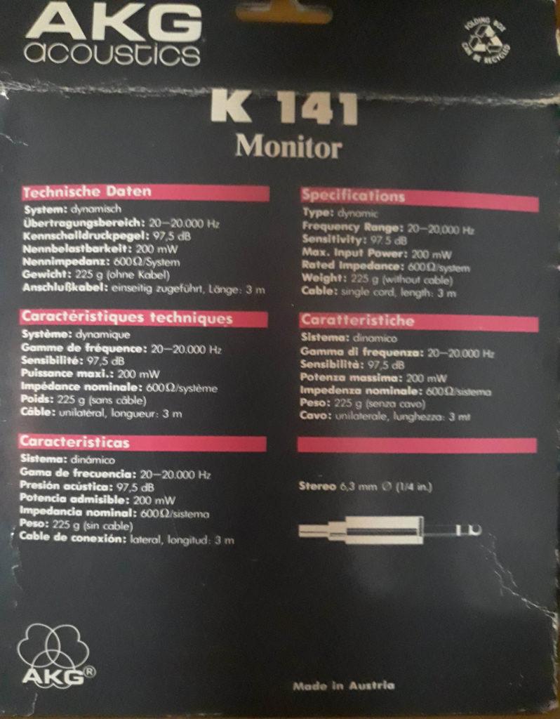 AKG K141 Monitor características